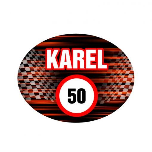 Vtipné samolepky na auto, Karel 50