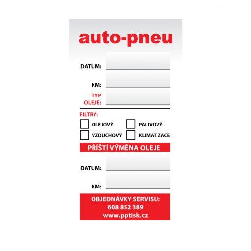 Tisk samolepky pro autoservis - výměna oleje